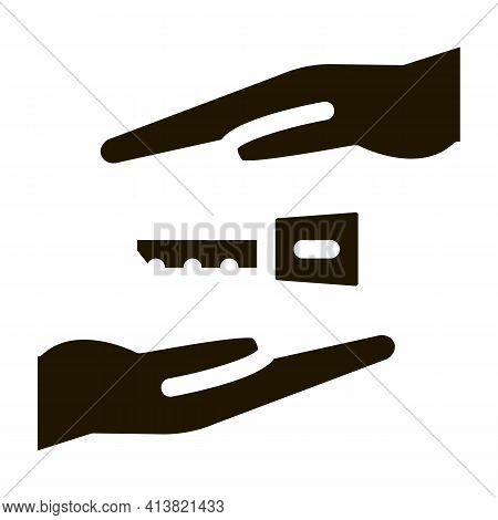 Hand Over Car Keys Glyph Icon Vector. Hand Over Car Keys Sign. Isolated Symbol Illustration