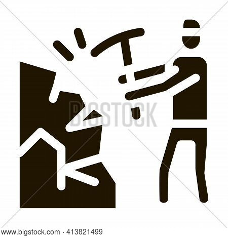 Miner With Pickaxe Glyph Icon Vector. Miner With Pickaxe Sign. Isolated Symbol Illustration
