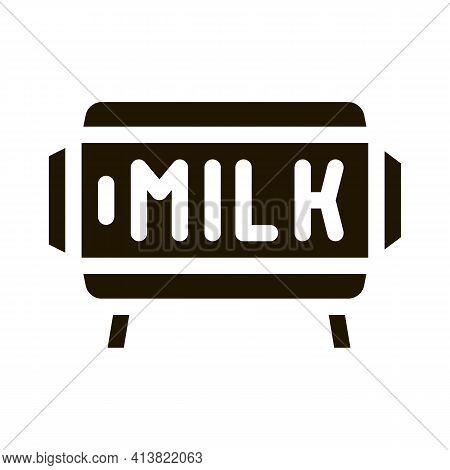 Amount Of Milk In Tank Glyph Icon Vector. Amount Of Milk In Tank Sign. Isolated Symbol Illustration