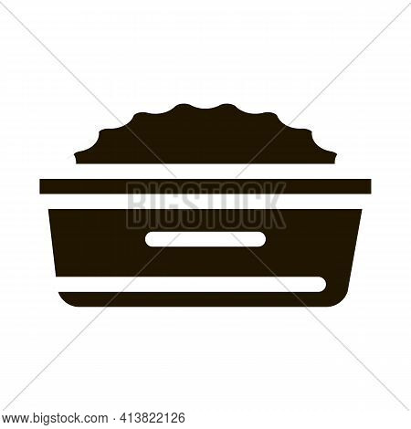 Plate With Porridge Glyph Icon Vector. Plate With Porridge Sign. Isolated Symbol Illustration