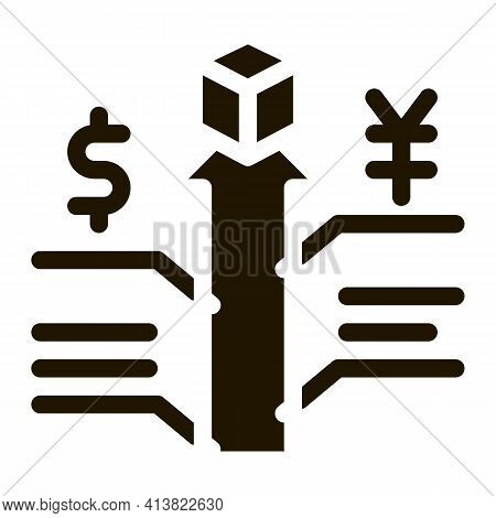 Increase Sales And Exchange Rates Glyph Icon Vector. Increase Sales And Exchange Rates Sign. Isolate