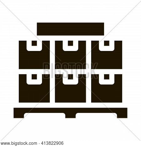 Stella With Parcels Glyph Icon Vector. Stella With Parcels Sign. Isolated Symbol Illustration