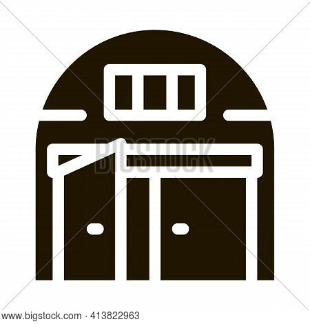 Car Garage Open Glyph Icon Vector. Car Garage Open Sign. Isolated Symbol Illustration