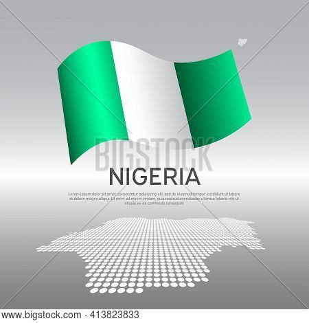 Nigeria Flag, Mosaic Map On Light Background. Vector Banner Design, Nigeria National Poster. Cover F