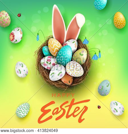 Easter Composition With A Gradient Of Green And Yellow Colors, Eggs In The Nest, Bunny Ears, Snowdro