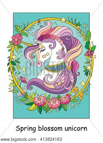 Beauty Unicorn Head Wreath Of Flowers. Vector Cartoon Colorful Illustration. For Postcard, Posters,