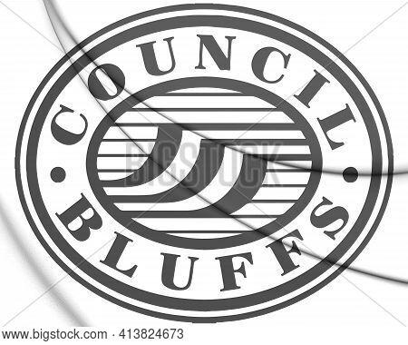 3d Seal Of Council Bluffs (iowa), Usa. 3d Illustration.