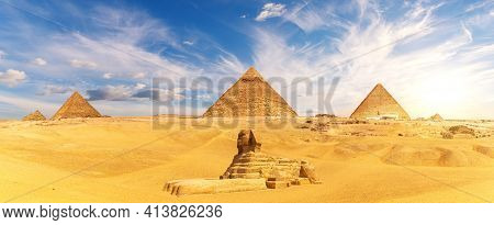 The Great Sphinx By The Egypt Piramid Complex, Famous Wonder Of The World, Giza