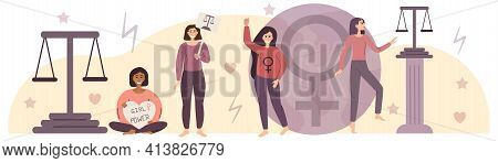 Empowerment. The Concept Feminism And Gender Equality. Variety Of Girls With Scales As Symbol Equali