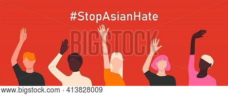 Stop Asian Hate. Antiracism Banner To Support Asian Community. Horizontal Poster With People Of Diff