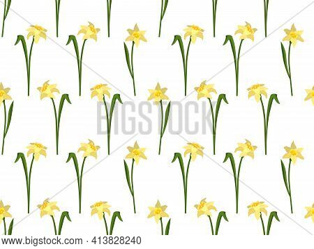 Seamless Pattern With Flowers Daffodils. Cute Spring Or Summer Print For Textiles, Wrapping Paper An
