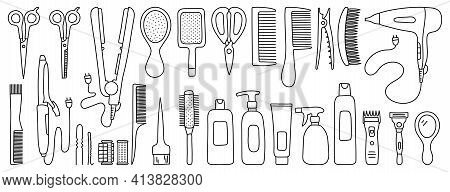 Hairdressing Equipment Line Sketch. Professional Hair Dresser Tools. Hand Drawn Doodle Icons Set. Ve