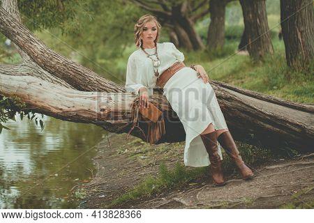 Fashionable Bohemian Style Woman, Fashion Portrait Outdoor
