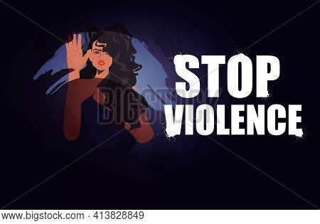 Scared Terrified Woman Stop Violence And Aggression Concept Portrait Horizontal