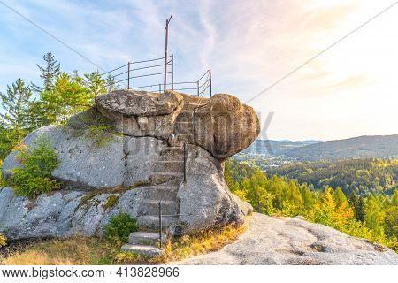 Smrzovka Viewpoint, German: Finkstein, Granite Rock Lookout Point With Stone Steps And Metal Railing