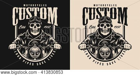 Motorcycle Vintage Monochrome Label With Skeleton In Biker Helmet Goggles And Jacket Riding Motorbik