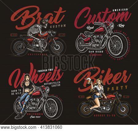 Motorcycle Vintage Prints With Pretty Biker Girl Skeleton Motorcyclist Riding Brat Style Motorbike A