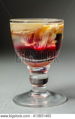 Interesting Drink Shot Based On Cream, Liqueur And Grenadine Called Brain Hemorrhage Prepared For Ha