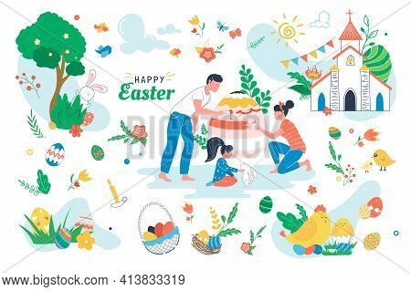 Happy Easter Set Isolated Elements. People Painting On Paschal Egg. Holiday Symbols Bundle - Egg Bas
