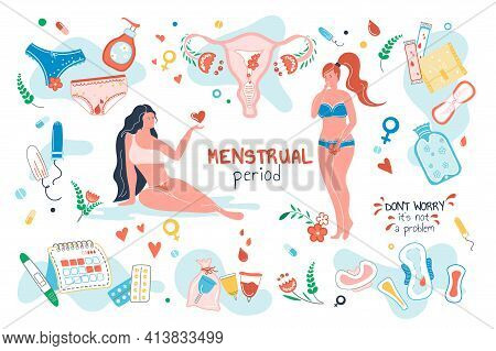 Menstrual Period Set Isolated Elements. Women With Menstruation. Hygiene Products Symbols Bundle - T