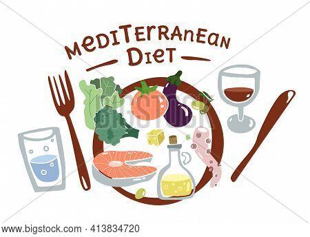 Mediterran Food Plate. Flat Concept Set. South Europa Diet. Mediterranen Healthy Lifestyle. Seafood