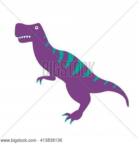Cartoon Tyrannosaurus On A White Background. Cute Dino Purple Turquoise Color Stands Sideways. The I