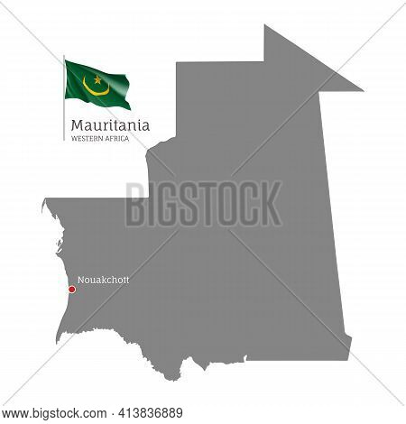 Silhouette Of Mauritania Country Map. Gray Editable Map
