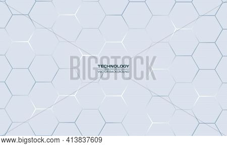 Light Gray Hexagonal Technology Vector Abstract Background. Blue Bright Energy Flashes Under Hexagon