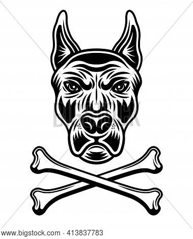 Dog Head In Spiked Collar And Two Crossed Bones Vector Illustration In Monochrome Style Isolated On