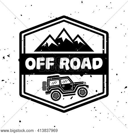 Off-road Extreme Club Vector Monochrome Vintage Emblem With Car And Mountains Isolated On White Back