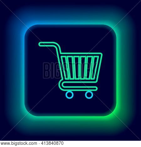 Glowing Neon Line Shopping Cart Icon Isolated On Black Background. Online Buying Concept. Delivery S