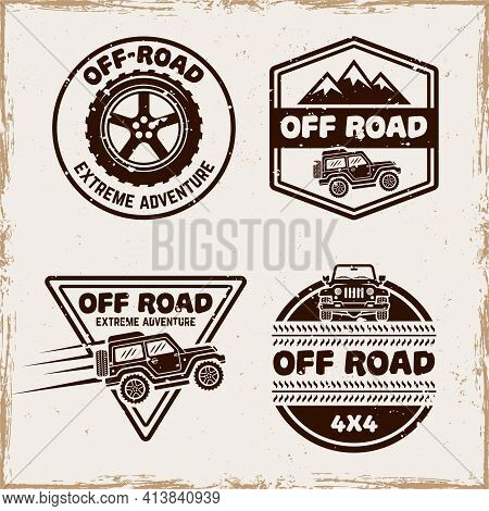 Off Road And Suv Car Set Of Four Vector Emblems, Badges, Labels Or Logos In Vintage Style With Remov
