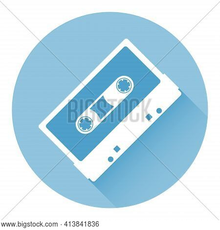 Audio Cassette. Audio Cassette Icon With Long Shadow. Vector Illustration. Vector.