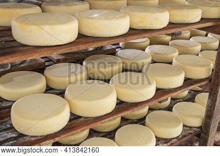 São Roque De Minas - Mg, Brazil - December 12, 2020: Cheese Storage In The Ripening Process At Roça