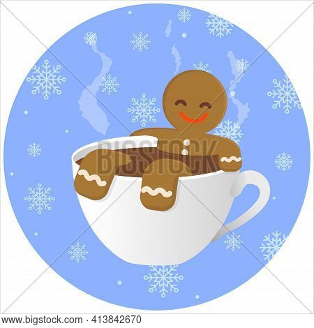 Gingerbread Man Chilling In The Cup Of Hot Chocolate On The Snowflakes Background. Winter Holiday.