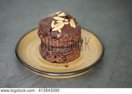 Close Up Of Delicious Chocolate Scone On Black Background
