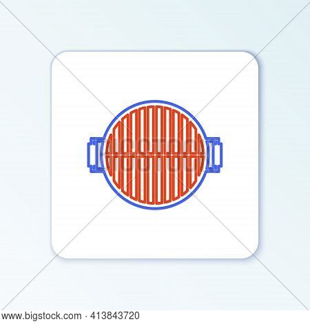 Line Barbecue Grill Icon Isolated On White Background. Top View Of Bbq Grill. Steel Grid. Colorful O