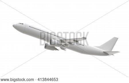 3d Plane Take Off Isolated On White Background. 3d Rendering