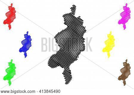 West Darfur State (republic Of The Sudan, North Sudan) Map Vector Illustration, Scribble Sketch Ghar