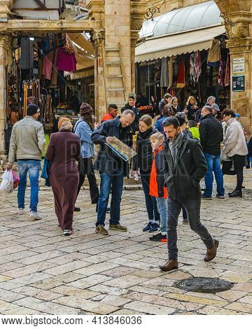 Crowded Old Jerusalem Commercial Street