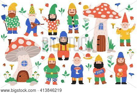 Garden Dwarf Characters. Gnome Garden Decorations, Dwarfs With Mushrooms, Gnome Mascots. Funny Garde