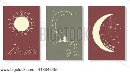 Abstract Minimalist Aesthetic Backgrounds Set With Sun, Moon, Mountains, Plants. Earth Tones, Pastel