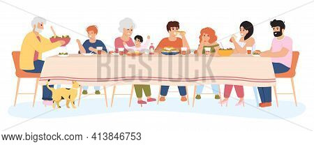 Family Meal. People Dining Together, Family Eating Delicious Holiday Meals. Dinner Within Family Cir