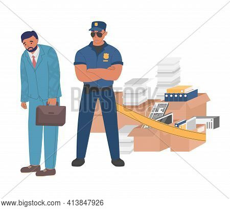 Sad Man, Dismissed Employee Leaving Office, Flat Vector Illustration. Process Of Ouster Is Supervise