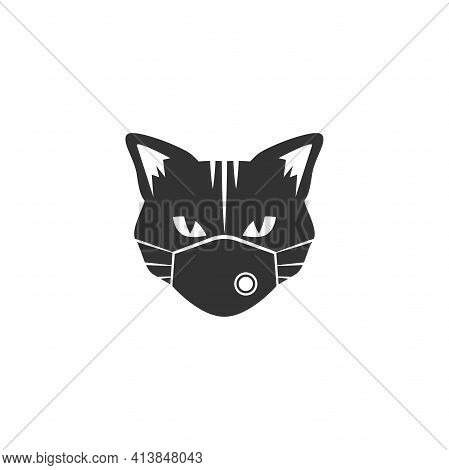 Black Cat With Medical Mask Isolated On White. Tough, Cool Tom Cat With Severe Look. Hipster Avatar