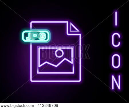 Glowing Neon Line Jpg File Document. Download Image Button Icon Isolated On Black Background. Jpg Fi