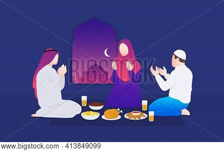 Ramadan. Family Praying. Iftar Party. Muslim Woman And Men. Vector