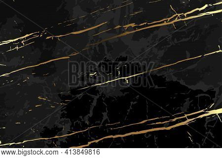Abstract Black Marble Background With Golden Veins. Black And Gold Marble Texture. Vector Illustrati
