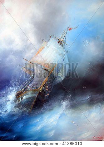 Seascape painting by Yakimenko Sergei. Marine painting. Work of authorship created. poster