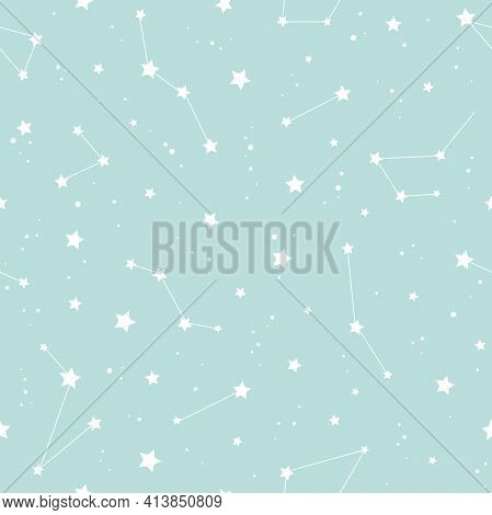 Seamless Pattern With White Constellations And Stars On Powder Blue Background. Vector Illustration.